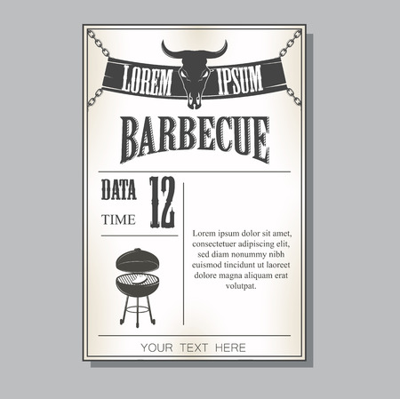 Vintage barbecue invitation Banco de Imagens - 37493086