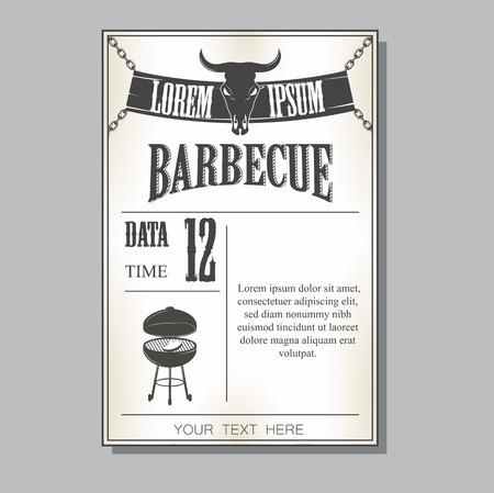 adult birthday party: Vintage barbecue invitation Illustration