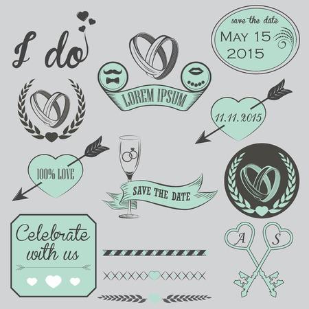 Wedding Vintage Invitation Collection - for design, scrapbook - in vector Vector