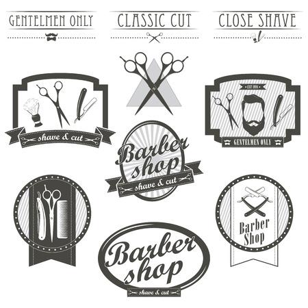 peluquero: Conjunto de emblemas de �poca barber�a, etiquetas, escudos y elementos dise�ados. Estilo lineal monocrom�tico