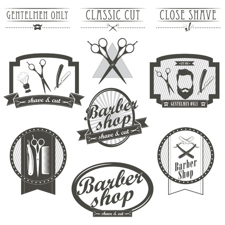 antique shop: Set of vintage barber shop emblems, label, badges and designed elements. Monochrome linear style