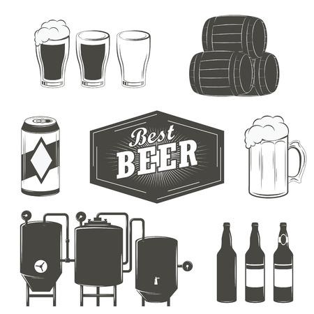 brew beer: Vintage beer emblems, labels and design elements Beer set
