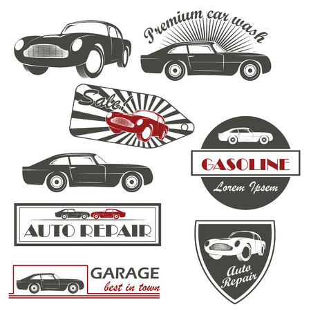 washes: Car service and car sale retro labels and icons
