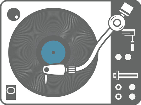 Record player vinyl record isolated on white background