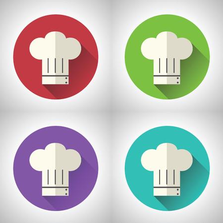 gorras: Jefe de cocina del s�mbolo Toque de cocina icono del alimento en el fondo con estilo moderno