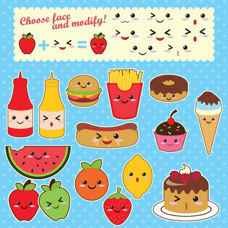 Cute Kawaii food characters fast food sweet fruit Vector