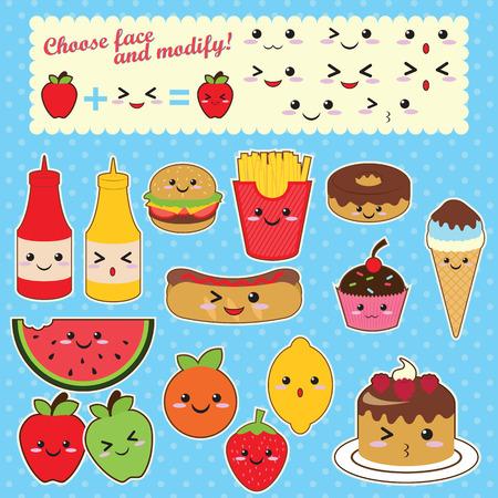 Cute Kawaii food characters fast food sweet fruit Illustration