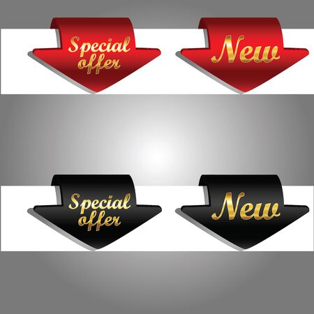 Discount labels bent around paper edge special offer and new