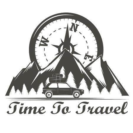wilderness: Wilderness travel emblem vintage Illustration