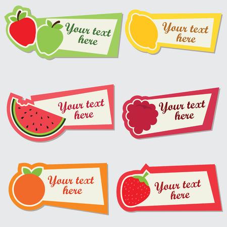 Vector fruit sticker set