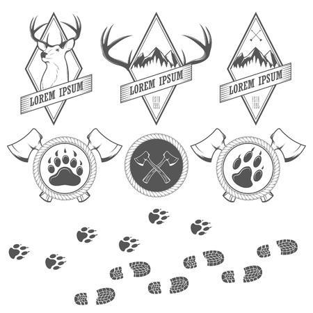 hiking trail: Vintage  vector camping labels, badges and design elements Illustration