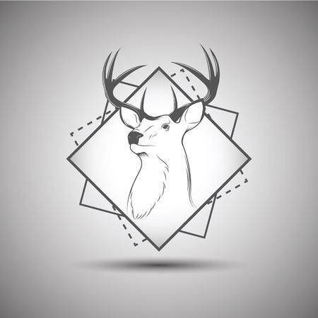 Deer head isolated on background Ilustração