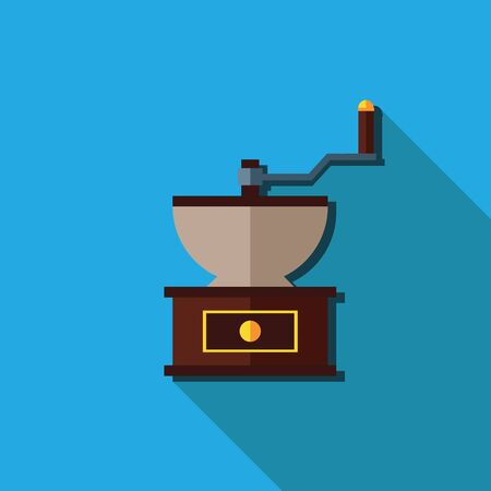 grinder: Flat coffee grinder, Vector isolated long shadow
