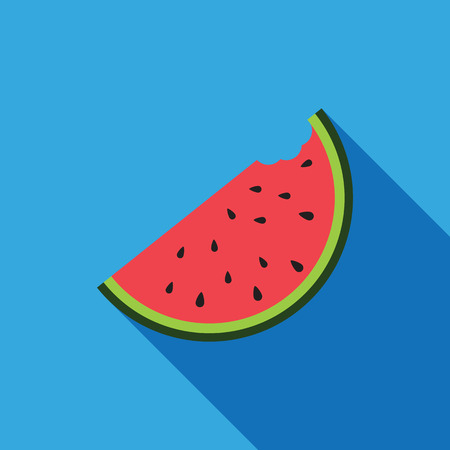 watermelon slice: Big watermelon slice cut with seed Flat design icon