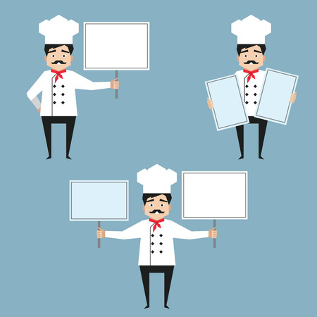 billboard: Chef characters holding white banners flat vector illustration