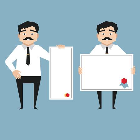 whiteboard: Man holding whiteboard Business presentation