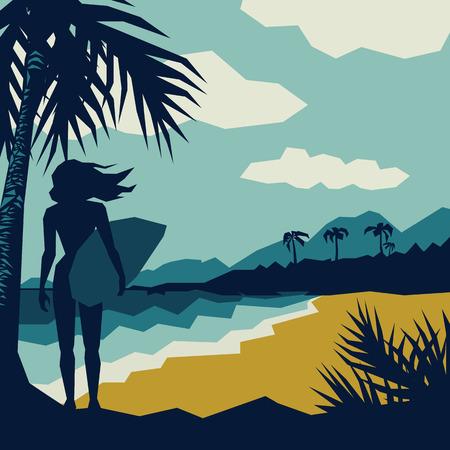 surf girl: girl with a surf on the beach