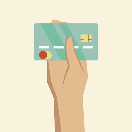 withdraw: hand holding credit card vector illustration