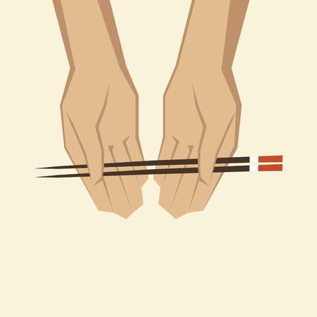 korea food: Illustration of a hand with chopsticks Illustration