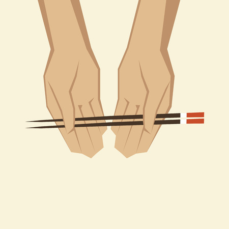 Illustration of a hand with chopsticks Illustration