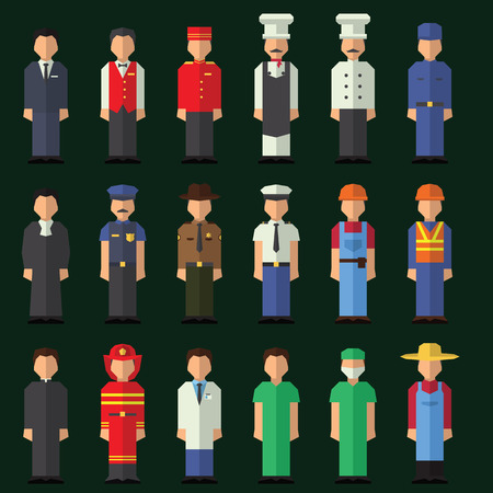 Character icon flat profession set isolated vector illustration Vector