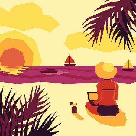 mujer mirando el horizonte: Mujer con ordenador port�til admirando la puesta de sol en la playa