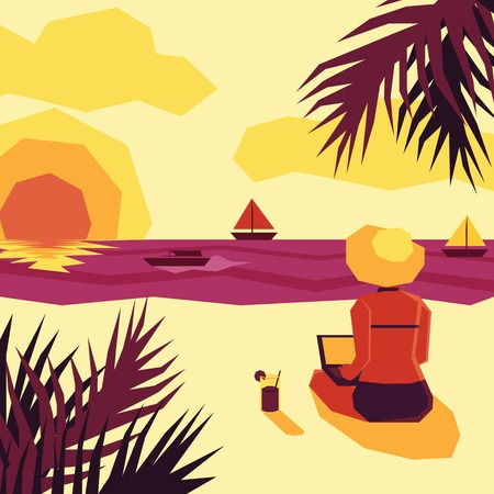 admiring: Woman with laptop admiring sunset on beach