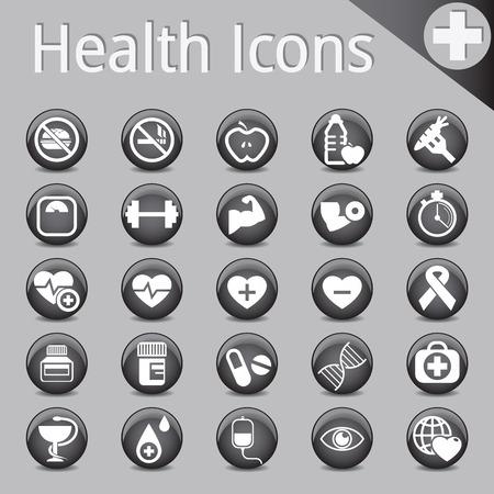 fitness and health: Sito Web e Internet Icone medicina nera salute fisica