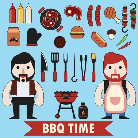Flat barbecue mis outil de nourriture et de caractère Banque d'images - 41582699