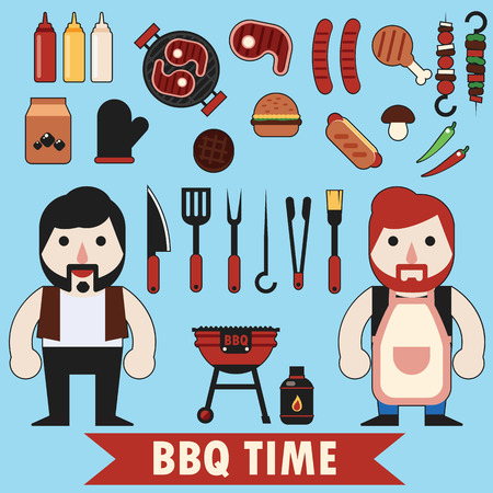 barbecue: Flat barbecue set food tool and character