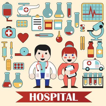 hospital caricatura: iconos y personajes en el ESP10 tema m�dico Vectores