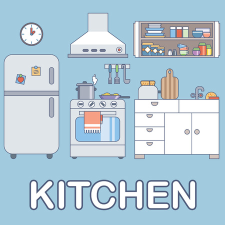 Kitchen with furniture. Flat style vector illustration esp10 Banco de Imagens - 41847257