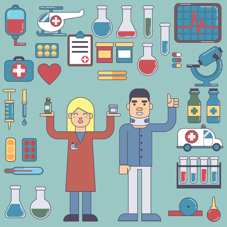 nurse injection: icons and characters on the medical theme