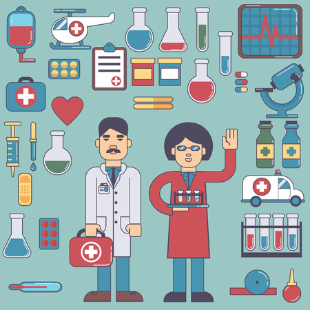 bacteria cartoon: icons and characters on the medical theme
