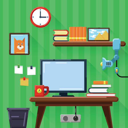 Illustration of modern workplace in room. Flat design with long shadows.