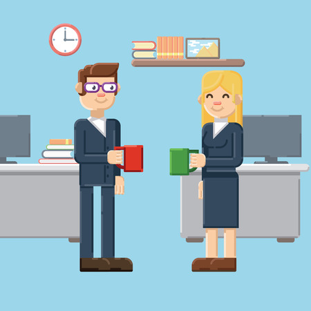 break in: Coffee break, male and female characters in the office, flat style Illustration