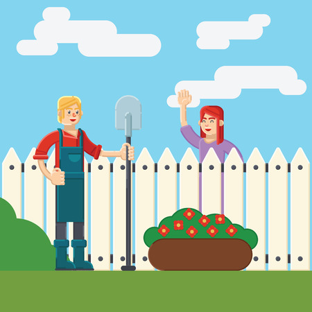 wicket: woman and man near fence wicket