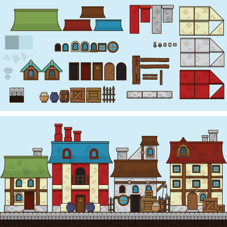 hamlet: Old stone and wooden houses. Vector flat illustration and sprite for game