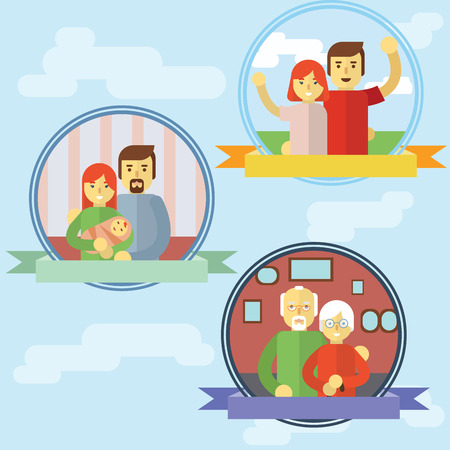 grandparent: Set of couple parents grandparent young family Illustration