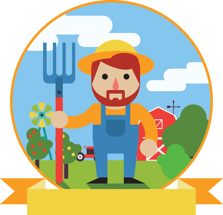Vector illustration of Farmer standing with his pitchfork Illustration