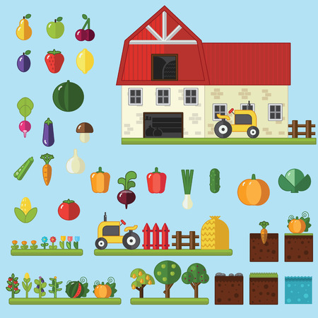 hay: Beds, trees flowers vegetables fruits hay farm building Vector flat illustrations