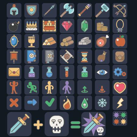 Game 52 icon set, vector esp10