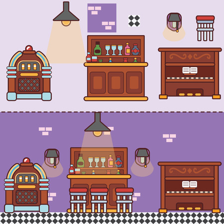 jukebox: Bar Restaurant Cafe with furniture. Flat style vector illustration. Illustration