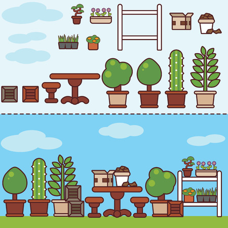 garden furniture: village garden with furniture and plants. Colorful flat style vector illustration.