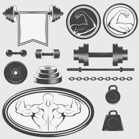 gym equipment: Set di attrezzature da palestra e elementi di design vintage. Illustrazione vettoriale