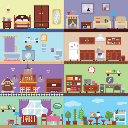home interior: Rooms of house with furniture. Flat style vector illustration.