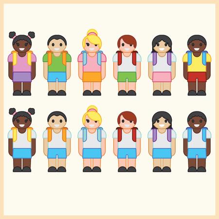 mixed race children: six cute cartoon diverse children wearing school uniform with backpacks