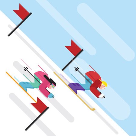 downhill skiing: Downhill skiing Cartoon character in flat style
