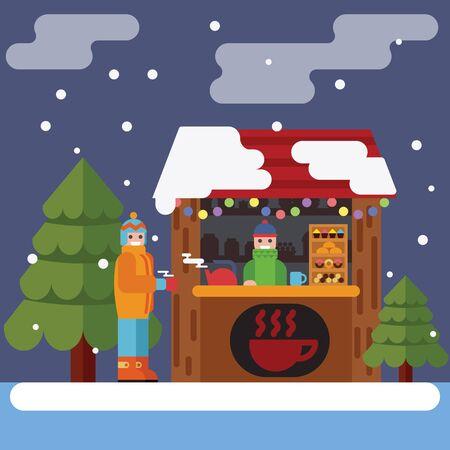 Christmas market. Vector flat illustration esp10 Ilustração