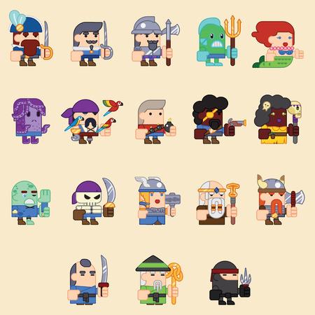 caballero medieval: RPG Adventure móvil Tablet PC Concept Screen Juego Web personajes planos Diseño Magia de hadas de la historieta de la cola Icono Ilustración vectorial Vectores